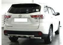 Защита заднего бампера d60 с доп. накладками для Toyota Highlander (2014-)