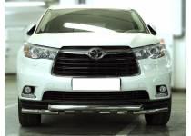 Защита переднего бампера d60 с доп. накладками для Toyota Highlander (2014-)