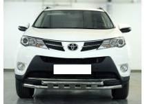 Защита переднего бампера d53 с доп. накладками для Toyota Rav4 (2013-2015)