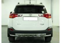 Защита заднего бампера d53 с доп. накладками для Toyota Rav4 (2013-2015)