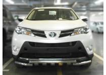 Защита переднего бампера d60 с доп. накладками для Toyota Rav4 (2013-2015)