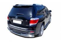 Защита заднего бампера двойная d60/42 для Toyota Highlander (2010-2013)