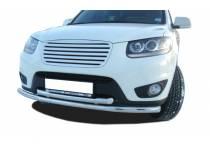 Защита переднего бампера двойная d60/42 для Hyundai Santa Fe (2010-2012)