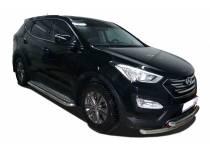 Защита переднего бампера двойная d60/42 для Hyundai Santa Fe (2013-)