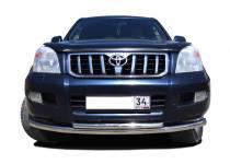 Защита переднего бампера двойная (радиус) d76/60 для Toyota Land Cruiser 120 (2003-2009)