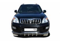 """Защита переднего бампера """"волна"""" с защитой d60/42 для Toyota Land Cruiser 120 (2003-2009)"""