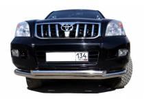 Защита переднего бампера двойная d76/60 для Toyota Land Cruiser 120 (2003-2009)