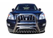 Кенгурятник высокий с защитой d76/60/42 для Toyota Land Cruiser 120 (2003-2009)