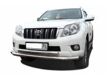Защита переднего бампера двойная (овал) d76/75 для Toyota Land Cruiser 150 (2014-)
