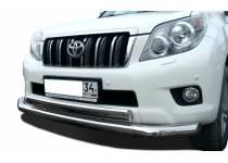 Защита переднего бампера двойная (овал) d76/75 для Toyota Land Cruiser 150 (2010-2013)
