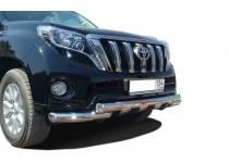 Защита переднего бампера двойная d76/76 для Toyota Land Cruiser 150 (2014-)