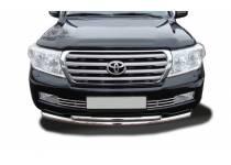 Защита переднего бампера двойная (радиус) d76/60 для Toyota Land Cruiser 200 (2007-2012)