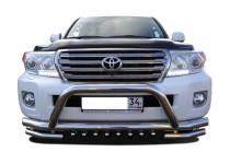 Защита переднего бампера двойная с кенгурином d76/60/42 для Toyota Land Cruiser 200 (2012-2015)