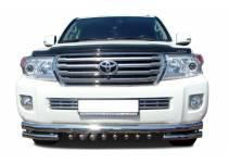 """Защита переднего бампера """"акула"""" d76/60/42 для Toyota Land Cruiser 200 (2012-2015)"""