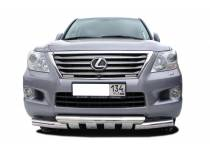 Защита переднего бампера двойная d76/76 для Lexus LX570 (2012-2014)