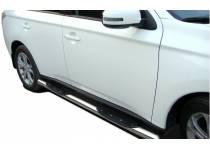 Пороги труба с проступью d76 для Mitsubishi Outlander 2014