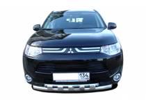 Защита переднего бампера двойная с доп. накладками d60/42 для Mitsubishi Outlander 2014