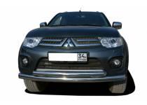 Защита переднего бампера двойная d60/53 для Mitsubishi Outlander XL (2007-2009)