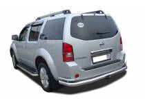 Защита заднего бампера увеличенная угловая d76/42 для Nissan Pathfinder (2010-2014)