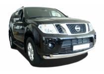Защита переднего бампера двойная d76/60 для Nissan Pathfinder (2010-2014)