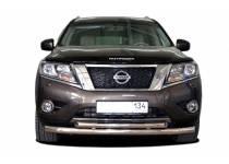 Защита переднего бампера двойная d76/60 для Nissan Pathfinder (2014-)