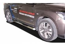 Пороги труба с проступью d76 для Nissan Pathfinder (2014-)