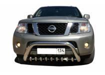 Кенгурятник низкий с защитой d76/42 для Nissan Pathfinder (2014-)