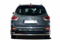 Защита заднего бампера увеличенная угловая d76/42 для Nissan Pathfinder (2014-)