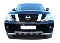 Защита переднего бампера двойная d76/76 для Nissan Patrol (2010-2013)