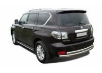 Защита заднего бампера двойная d60/60 для Nissan Patrol (2010-2013)