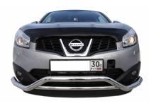 Защита переднего бампера двойная d60/42 для Nissan Qashqai (2007-2010)