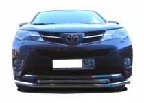 Защита переднего бампера двойная d60/42 для Toyota Rav4 (2013-2015)