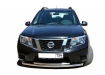 Защита переднего бампера двойная d60/42 для Nissan Terrano (2014-)