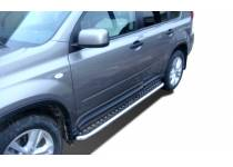Пороги с накладным листом d53 для Nissan X-Trail (2007-2011)