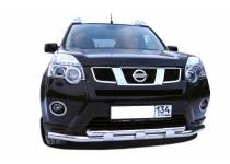 Защита переднего бампера двойная с доп. накладками d60/42 для Nissan X-Trail (2011-2014)
