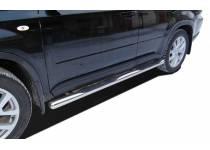 Пороги труба с проступью d76 для Nissan X-Trail (2011-2014)