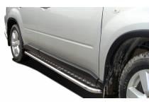 Пороги с накладным листом d53 для Nissan X-Trail (2011-2014)
