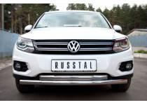 Защита переднего бампера двойная d63/63 для Volkswagen Tiguan Track & Field (2011-)