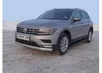 Защита передняя нижняя (овальная длинная) 75х42 мм (Пакет Offroad) для Volkswagen Tiguan (2017-)