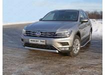 Защита передняя нижняя (овальная короткая) 75х42 мм для Volkswagen Tiguan (2017-)