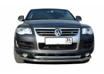 Защита переднего бампера двойная d76/60 для Volkswagen Touareg (2007-2010)