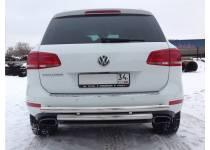 Защита заднего бампера двойная d60/60 для Volkswagen Touareg (2010-2013)