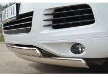 Защита переднего бампера двойная d75/42 (овалы) для Volkswagen Touareg (2010-2013)