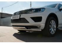 Защита переднего бампера двойная d75/42 (овалы) для Volkswagen Touareg (2014-)
