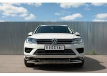Защита переднего бампера двойная d63/42 для Volkswagen Touareg (2014-)