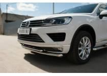 Защита переднего бампера d63 (секции) d42 (дуга) для Volkswagen Touareg (2014-)