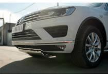 Защита переднего бампера d75х42 (дуга) короткая для Volkswagen Touareg (2014-)