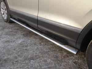 Пороги овальные с накладкой 120х60 мм для Volkswagen Tiguan (2017-)