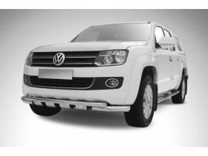 Защита переднего бампера двойная d76/57 с защитой картера на Volkswagen Amarok (2010-2015)