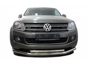 Защита переднего бампера двойная d76/60 на Volkswagen Amarok (2010-2015)